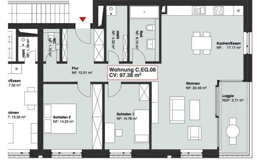 wohnung kaufen 2 schlafzimmer 97.38 m² wasserbillig foto 1