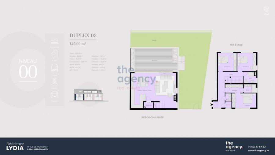 acheter duplex 3 chambres 125.69 m² niederanven photo 2