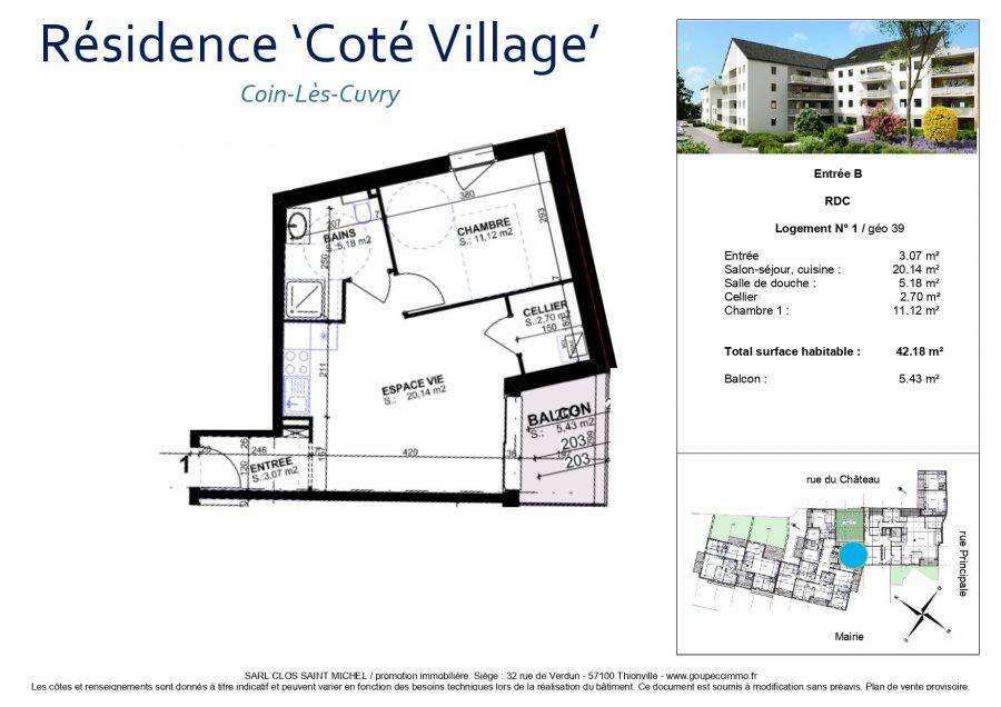 acheter appartement 2 pièces 42.18 m² coin-lès-cuvry photo 3