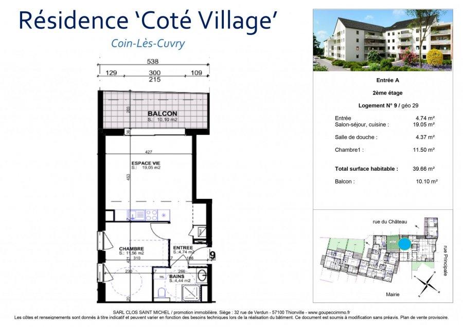 acheter appartement 2 pièces 39.66 m² coin-lès-cuvry photo 3