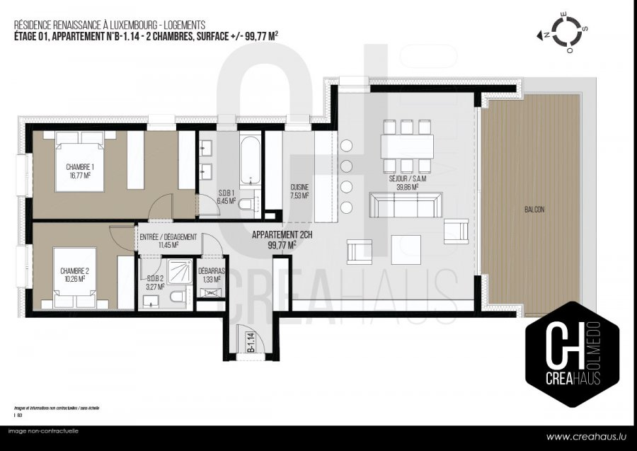 acheter appartement 2 chambres 99.77 m² luxembourg photo 3