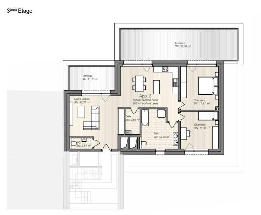 acheter penthouse 2 chambres 104.77 m² differdange photo 3