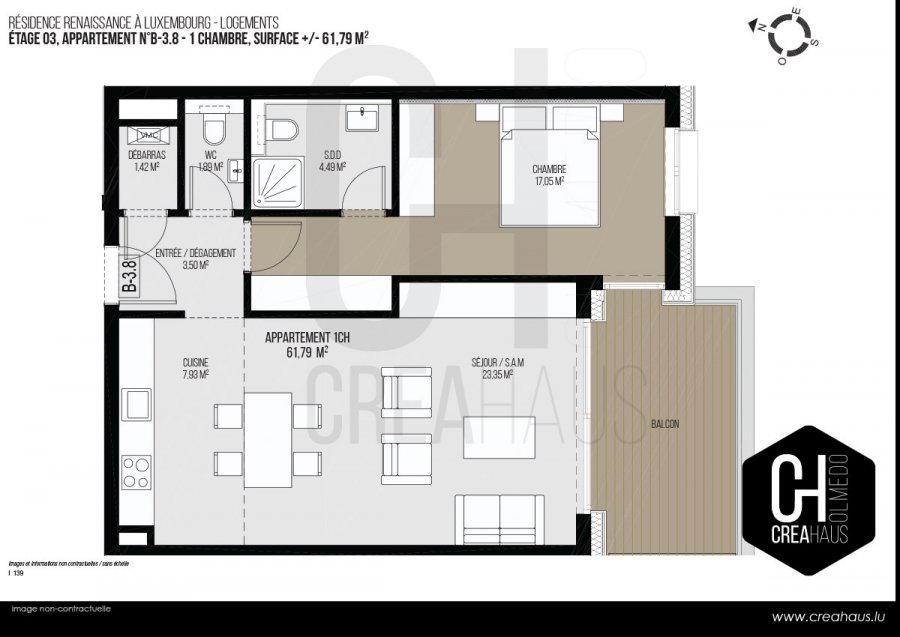 acheter appartement 1 chambre 61.79 m² luxembourg photo 3