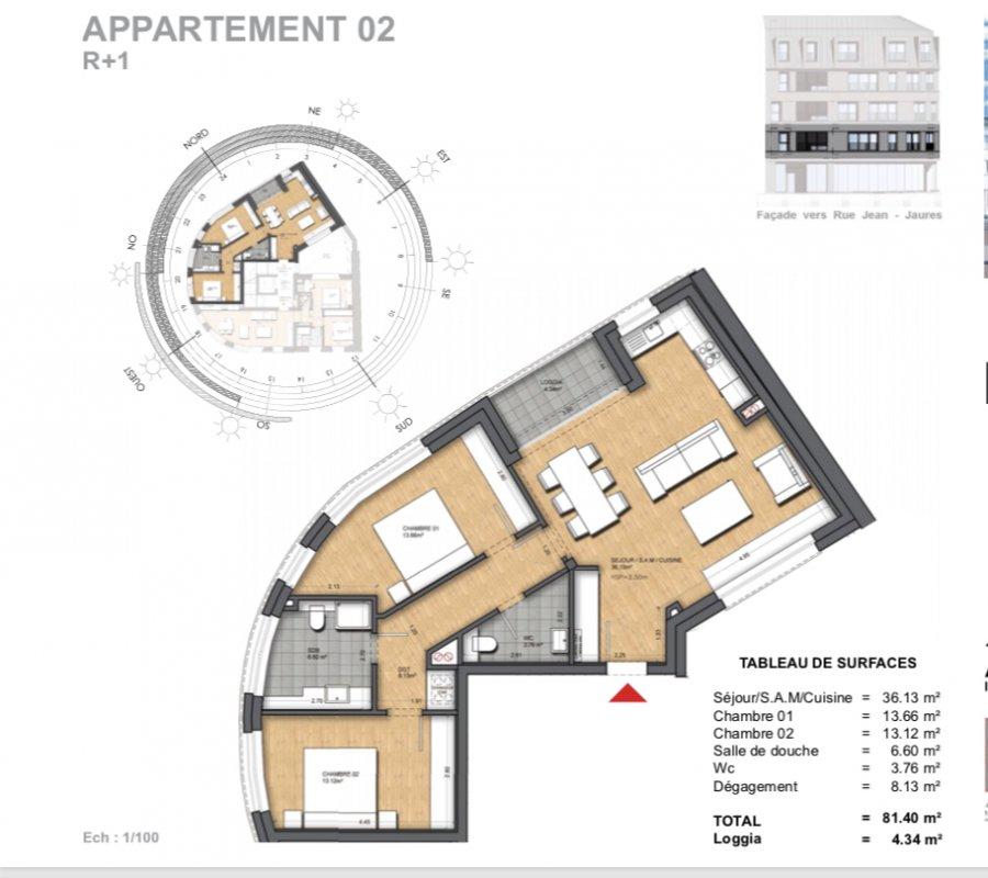 wohnung kaufen 2 schlafzimmer 86.85 m² dudelange foto 3