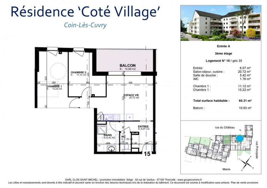 acheter appartement 3 pièces 60.31 m² coin-lès-cuvry photo 3