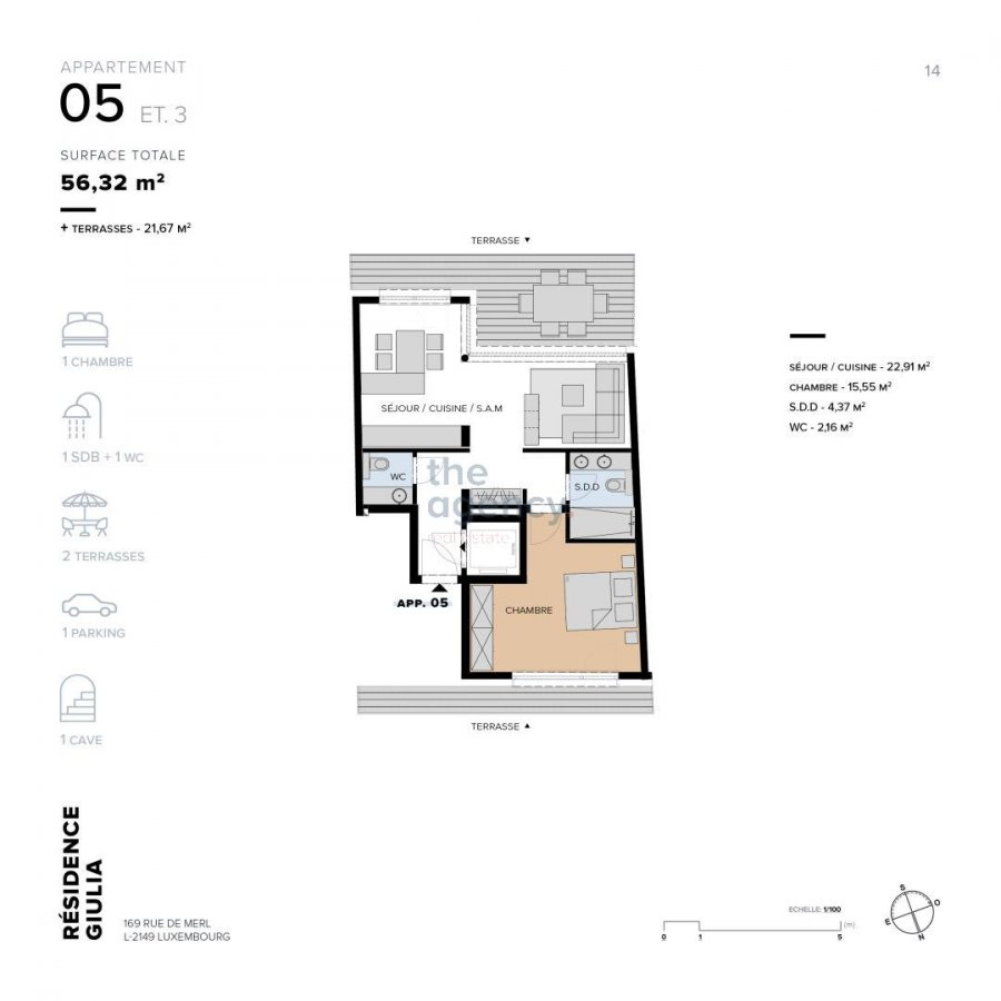 acheter appartement 1 chambre 56.32 m² luxembourg photo 4