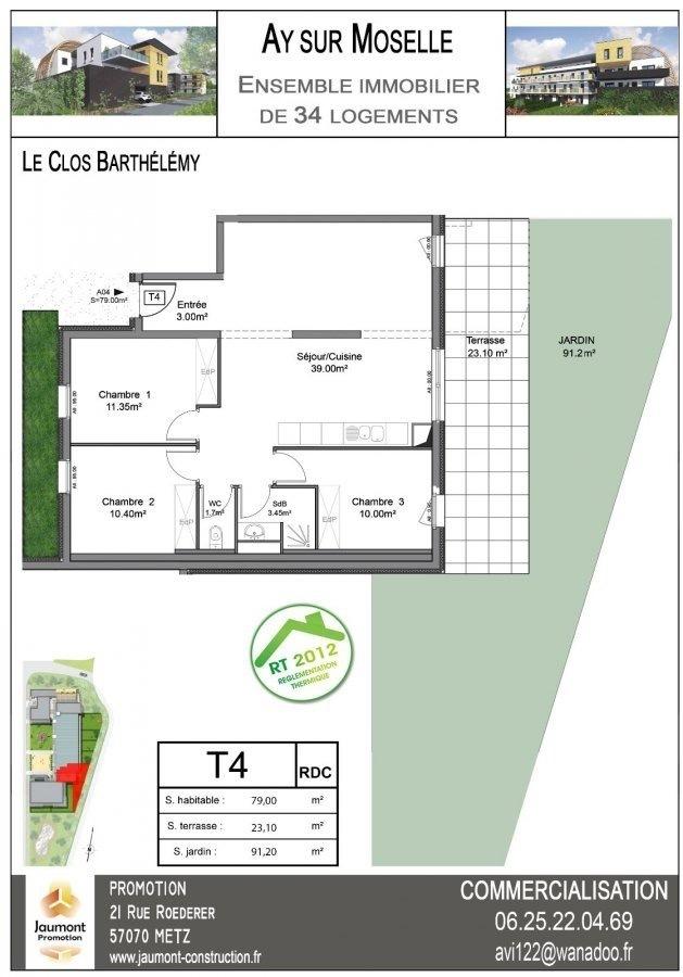 acheter appartement 4 pièces 89 m² ay-sur-moselle photo 2