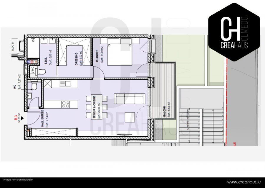 acheter appartement 1 chambre 60.47 m² luxembourg photo 2