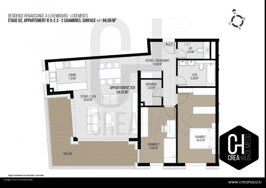 acheter appartement 2 chambres 94.59 m² luxembourg photo 3