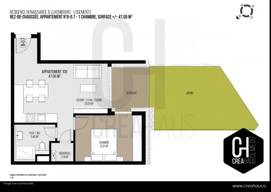 acheter appartement 1 chambre 47.05 m² luxembourg photo 3