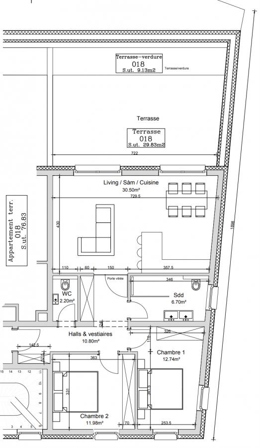 Appartement à vendre 2 chambres à Mondorf-Les-Bains