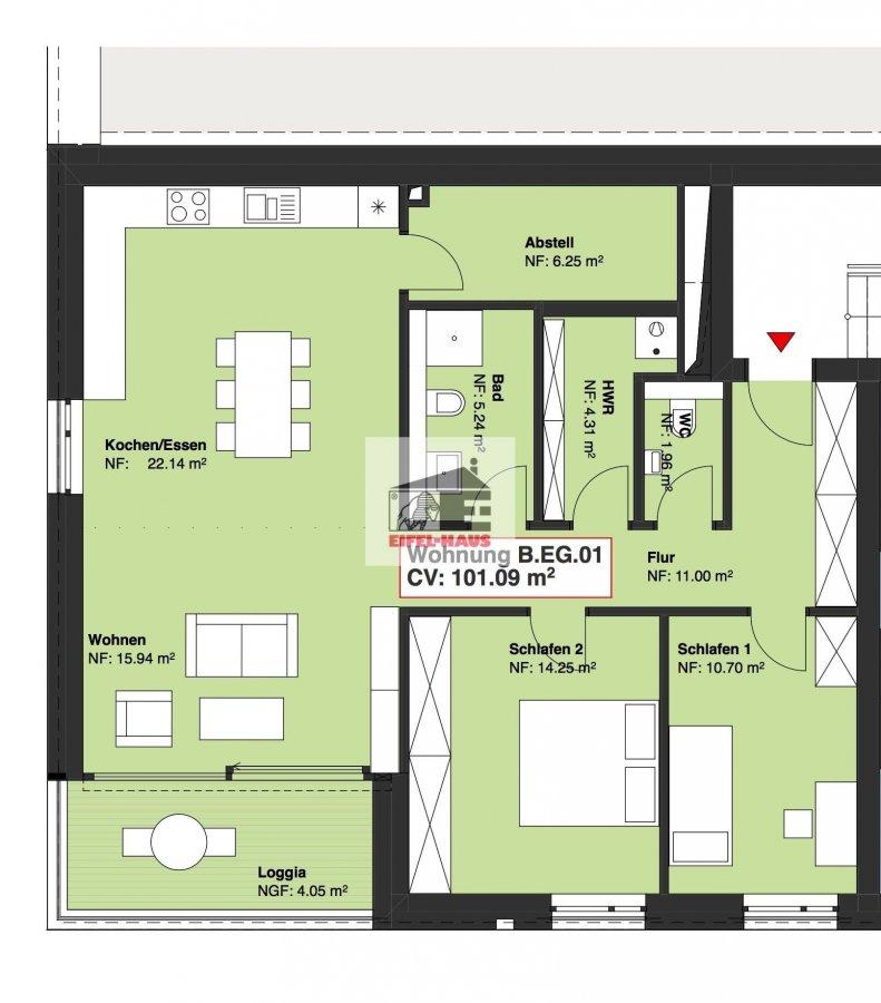 wohnung kaufen 2 schlafzimmer 101.09 m² wasserbillig foto 1