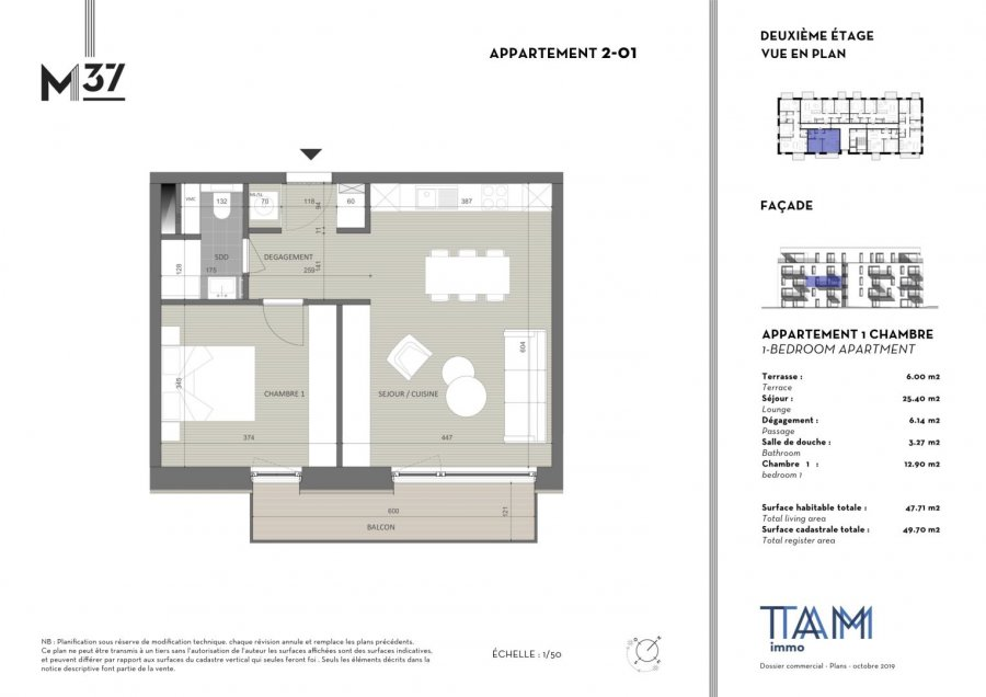 acheter appartement 1 chambre 47.71 m² luxembourg photo 2