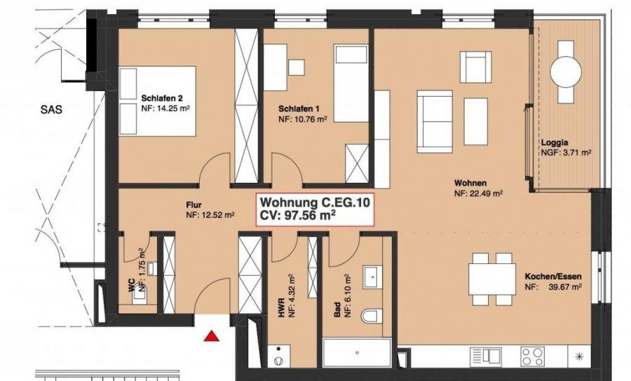 wohnung kaufen 2 schlafzimmer 97.56 m² wasserbillig foto 1