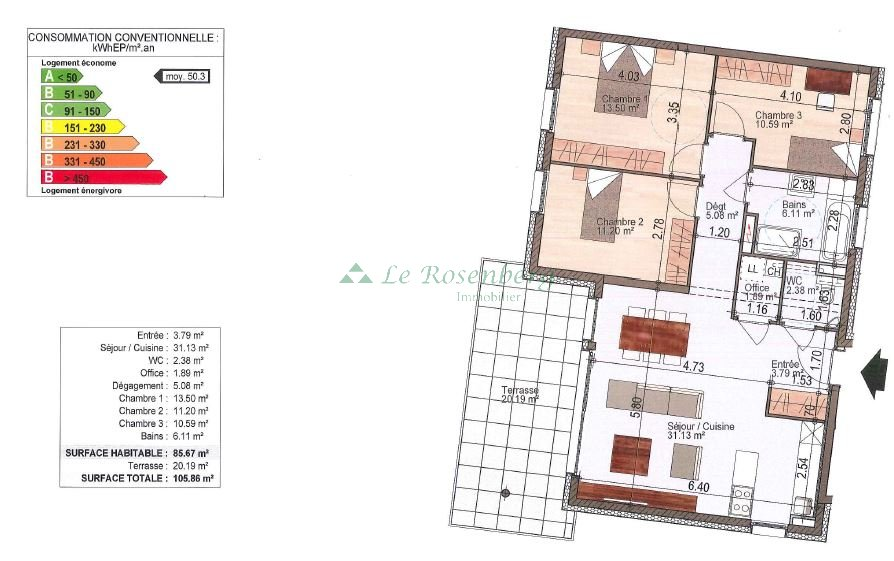 Appartement à vendre F4 à Hegenheim