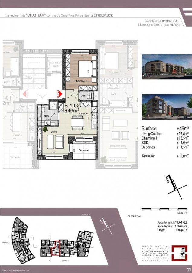 acheter appartement 1 chambre 46 m² ettelbruck photo 1
