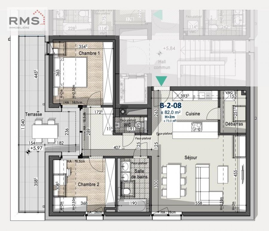 acheter appartement 2 chambres 77.48 m² peppange photo 3
