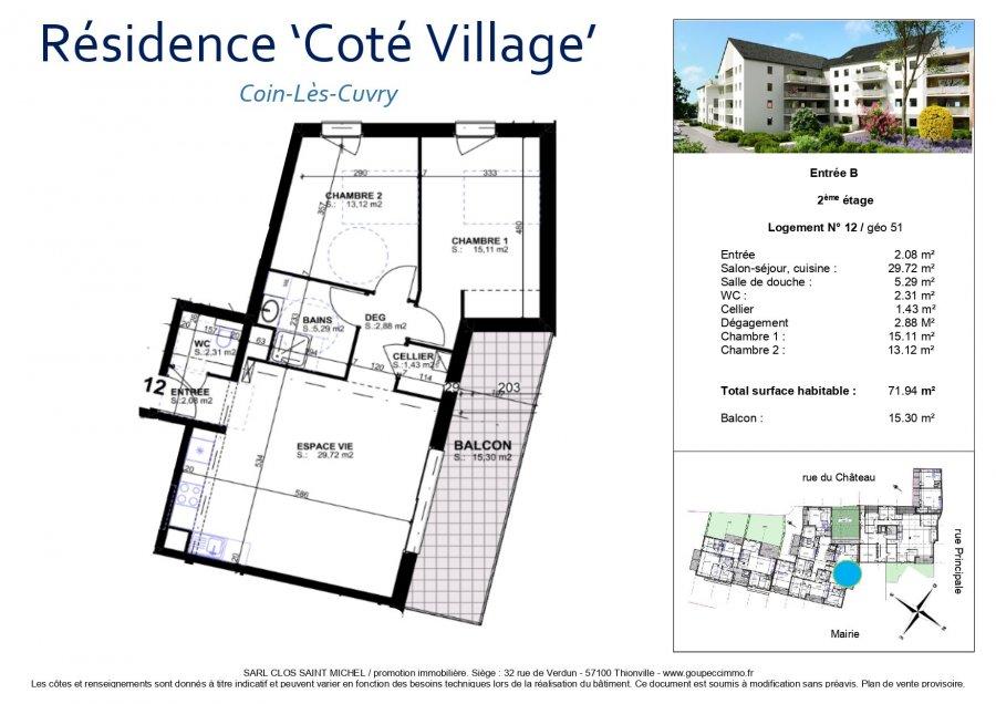 acheter appartement 3 pièces 71.94 m² coin-lès-cuvry photo 3