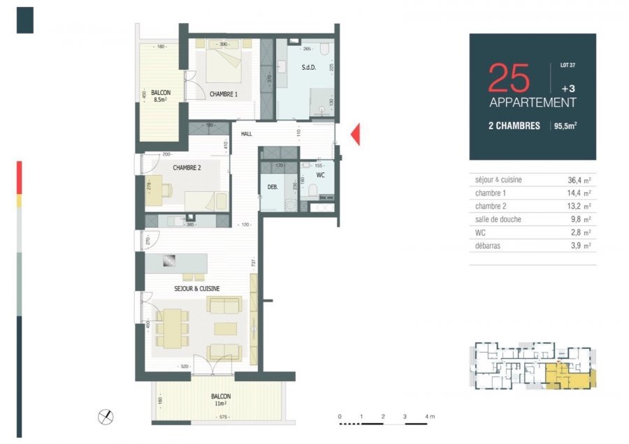 apartment for buy 2 bedrooms 105.25 m² strassen photo 3