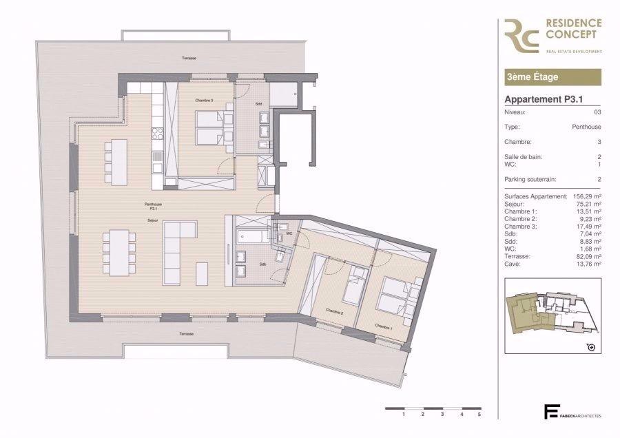 penthouse-wohnung kaufen 3 schlafzimmer 180.92 m² luxembourg foto 2