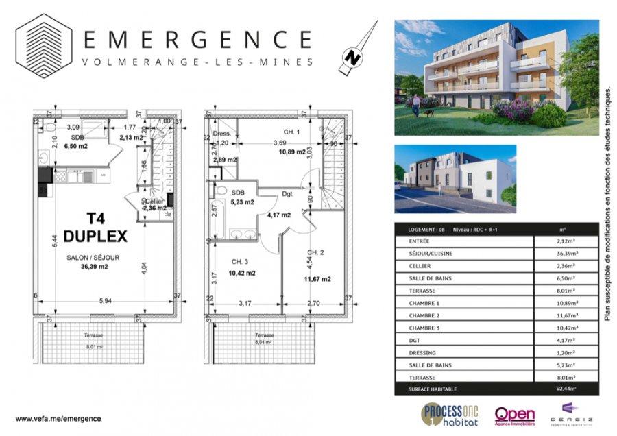 acheter appartement 4 pièces 92.44 m² volmerange-les-mines photo 1