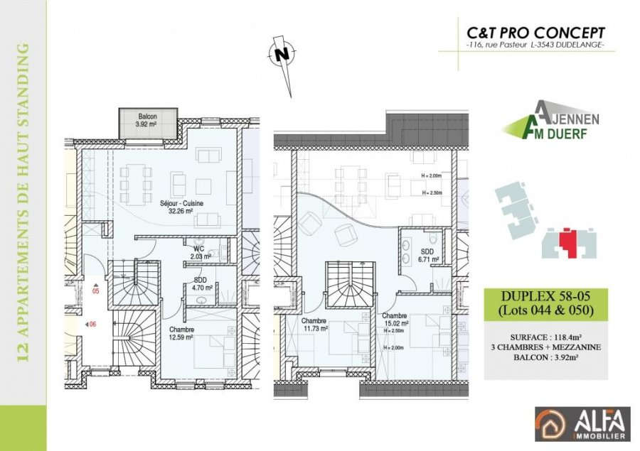 acheter duplex 3 chambres 118.4 m² moutfort photo 5