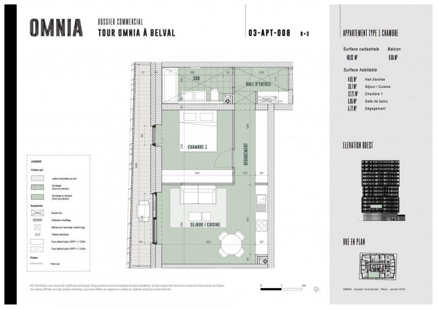 acheter appartement 1 chambre 48.93 m² belval photo 3