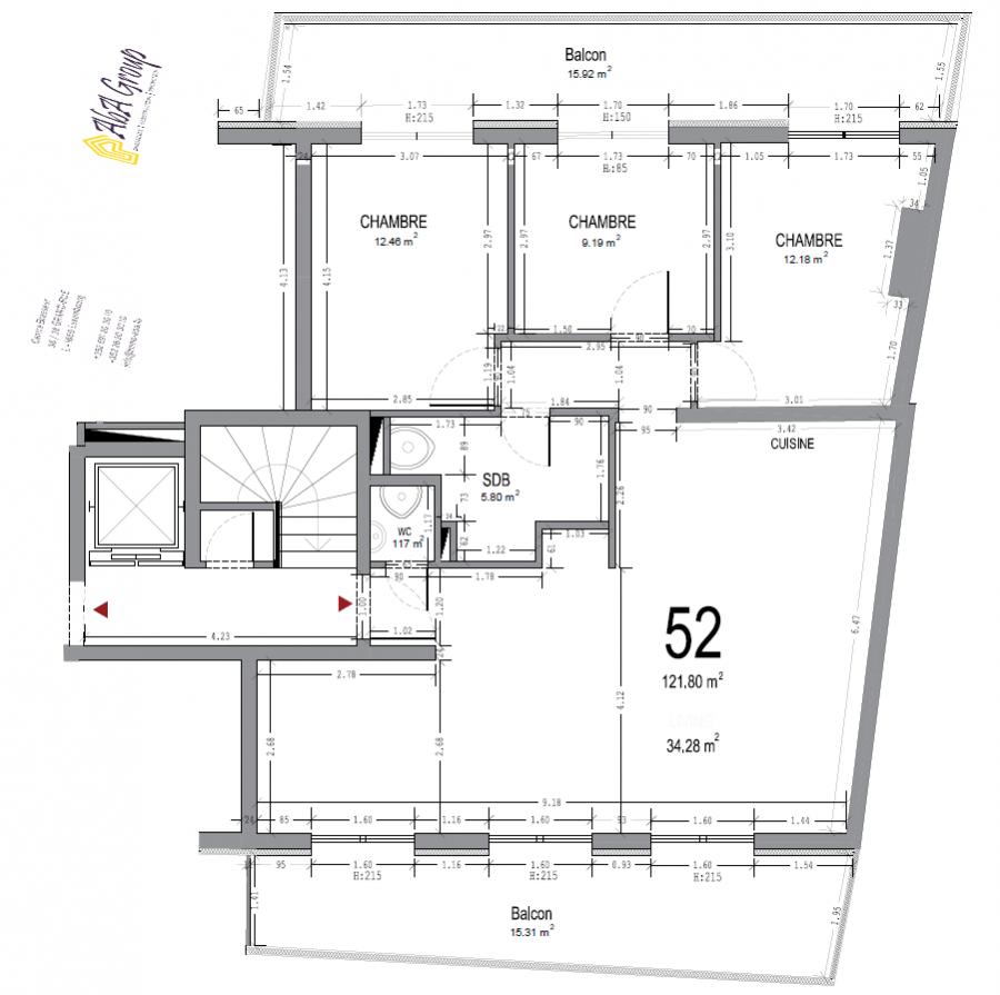 louer penthouse 3 chambres 122 m² esch-sur-alzette photo 2
