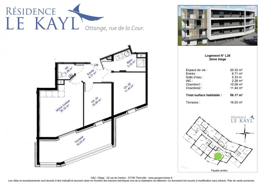 acheter appartement 3 pièces 56.17 m² ottange photo 1