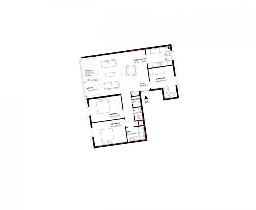 acheter appartement 3 chambres 130.2 m² belval photo 2