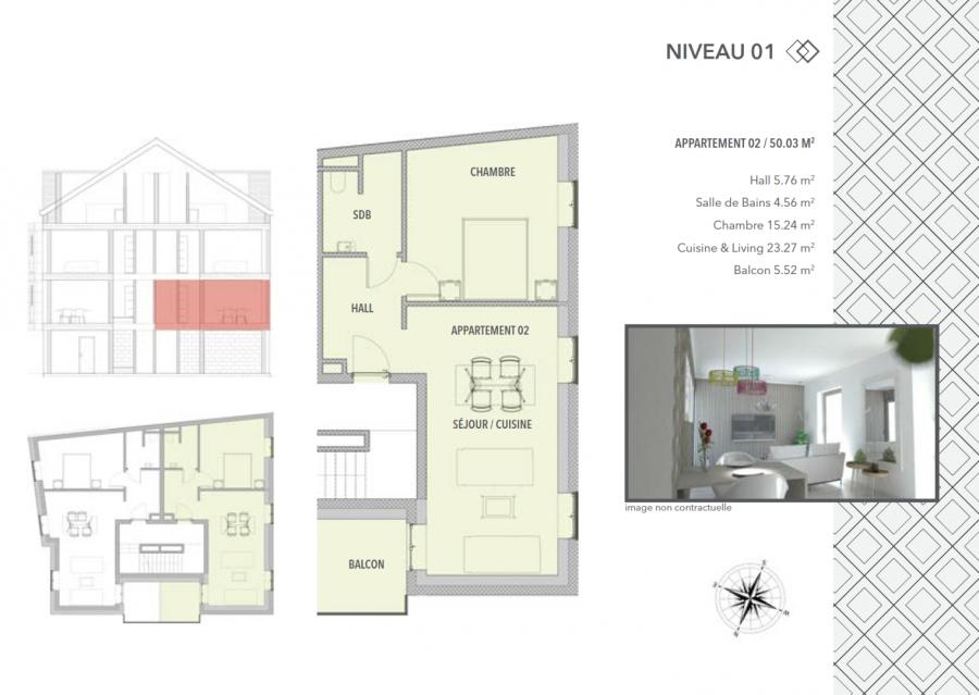 acheter appartement 1 chambre 50.03 m² schifflange photo 2