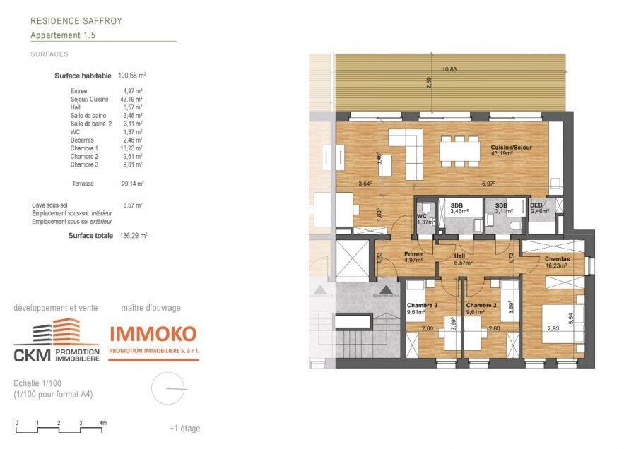 acheter appartement 3 chambres 100.58 m² beaufort photo 3