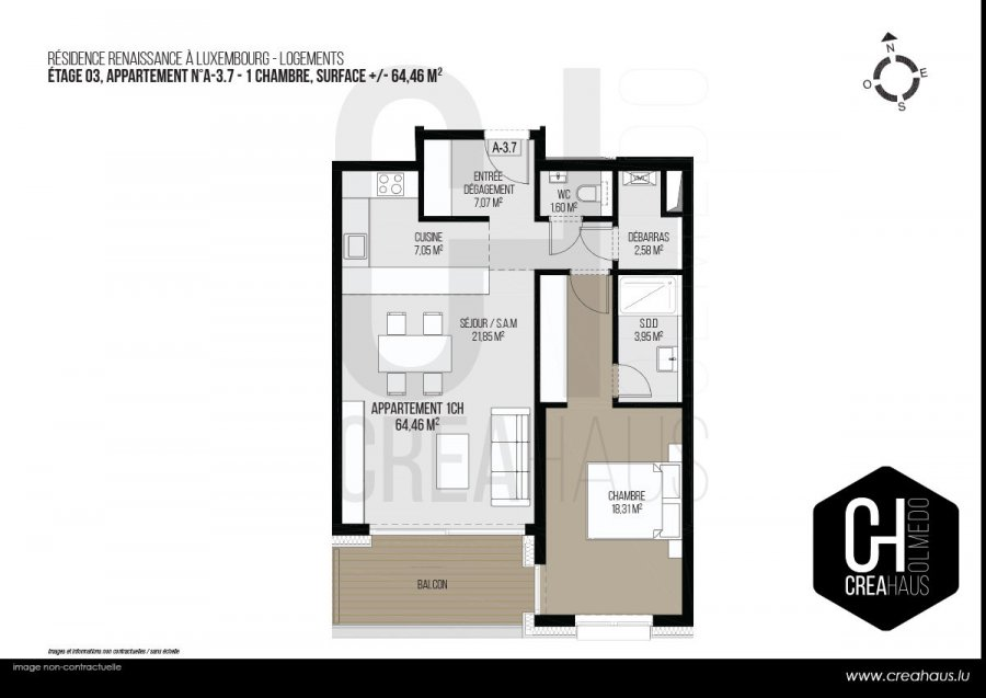 acheter appartement 1 chambre 64.46 m² luxembourg photo 3