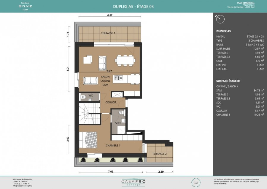 acheter penthouse 3 chambres 112 m² olm photo 4