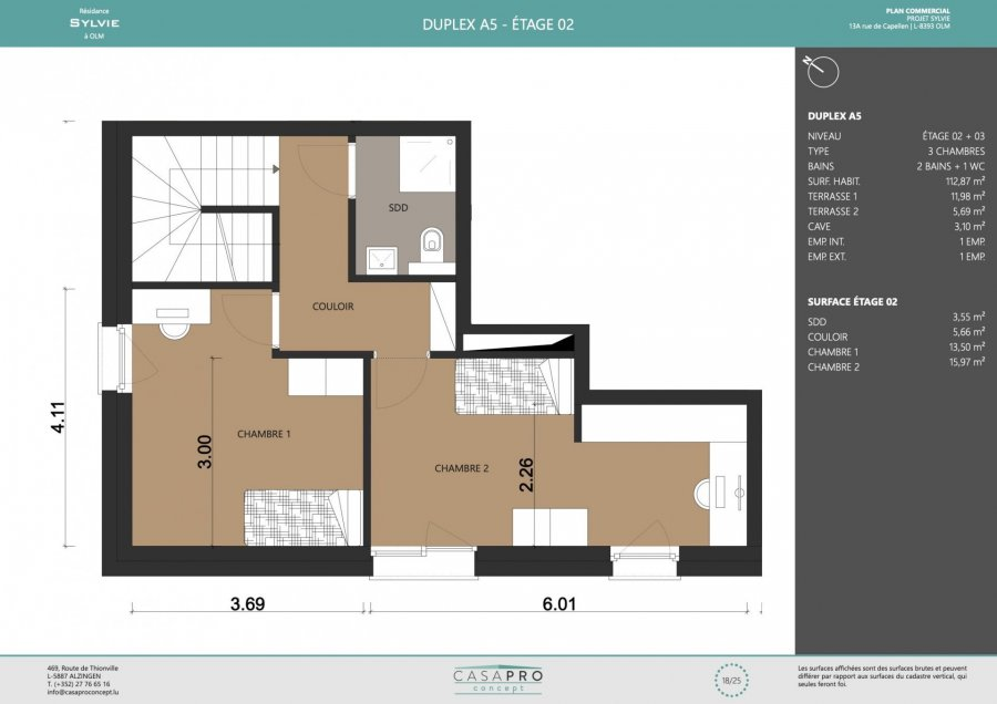 acheter penthouse 3 chambres 112 m² olm photo 5