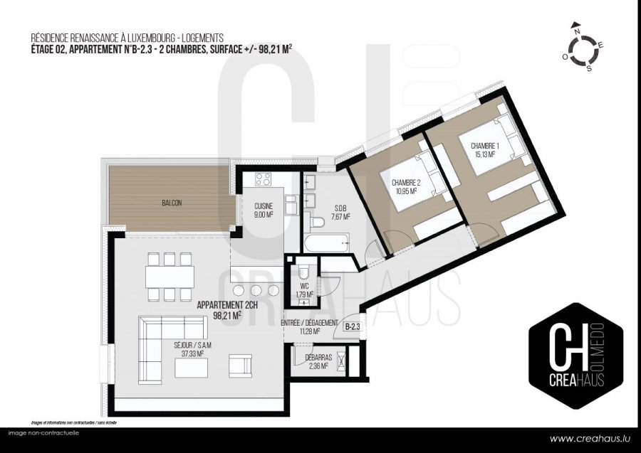 acheter appartement 2 chambres 98.21 m² luxembourg photo 3