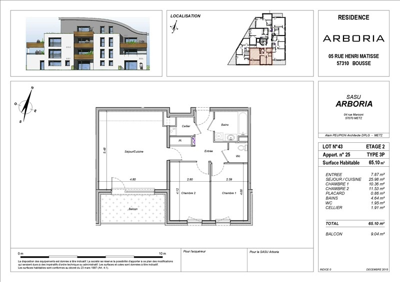 acheter appartement 3 pièces 65 m² bousse photo 2