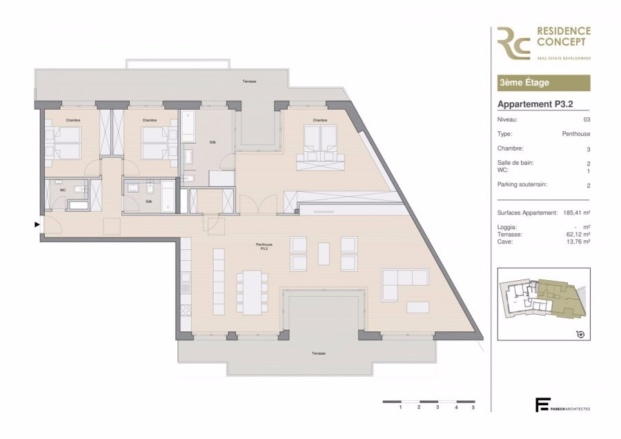 acheter penthouse 3 chambres 185.41 m² luxembourg photo 3