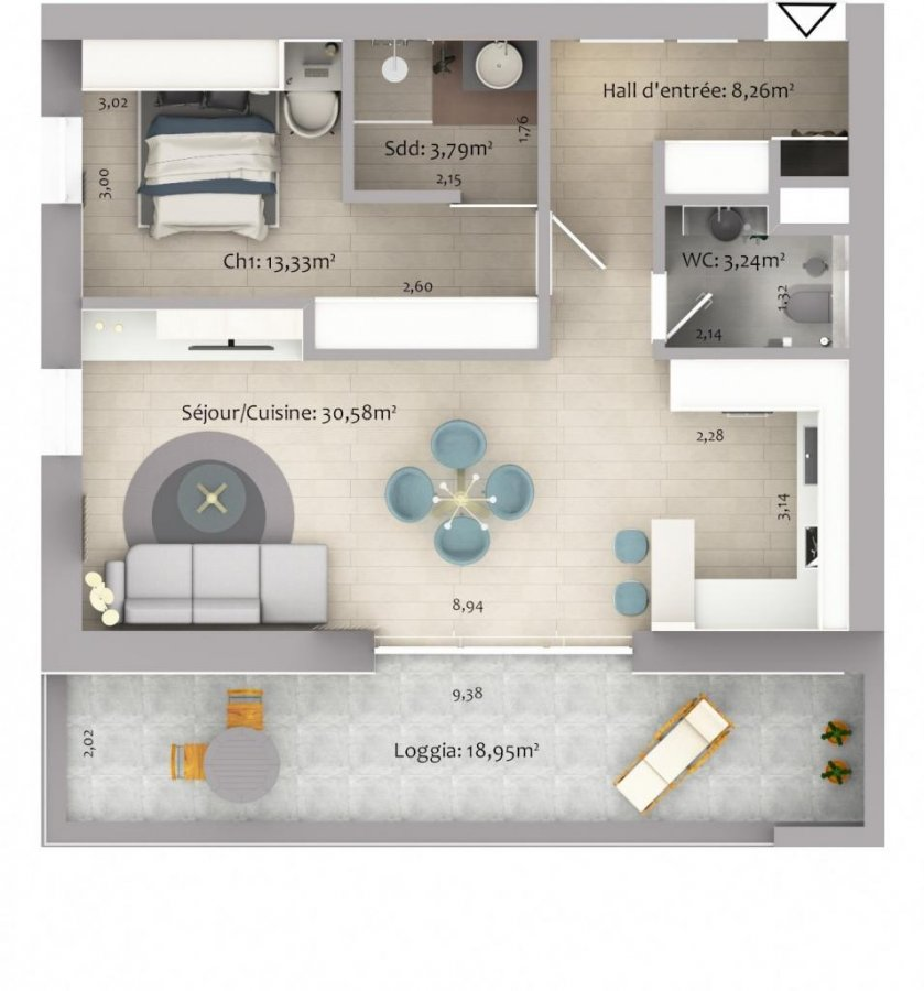 acheter appartement 1 chambre 61.28 m² eselborn photo 3