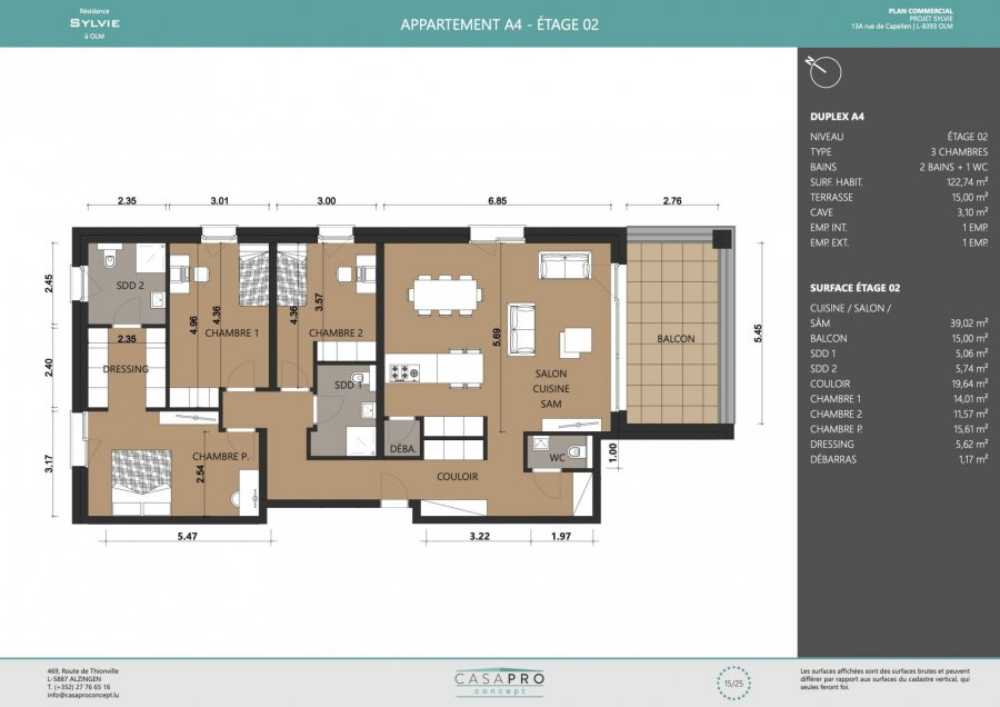 acheter appartement 3 chambres 122 m² olm photo 3