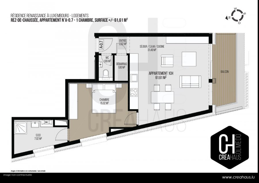 apartment for buy 1 bedroom 61.61 m² luxembourg photo 3