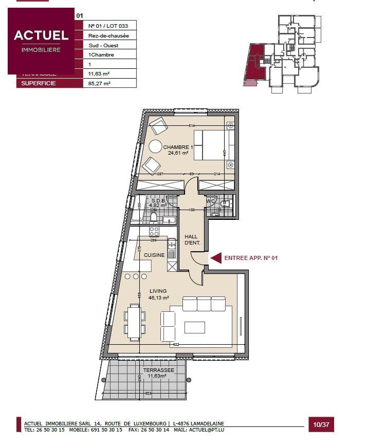 acheter appartement 1 chambre 92 m² pétange photo 3