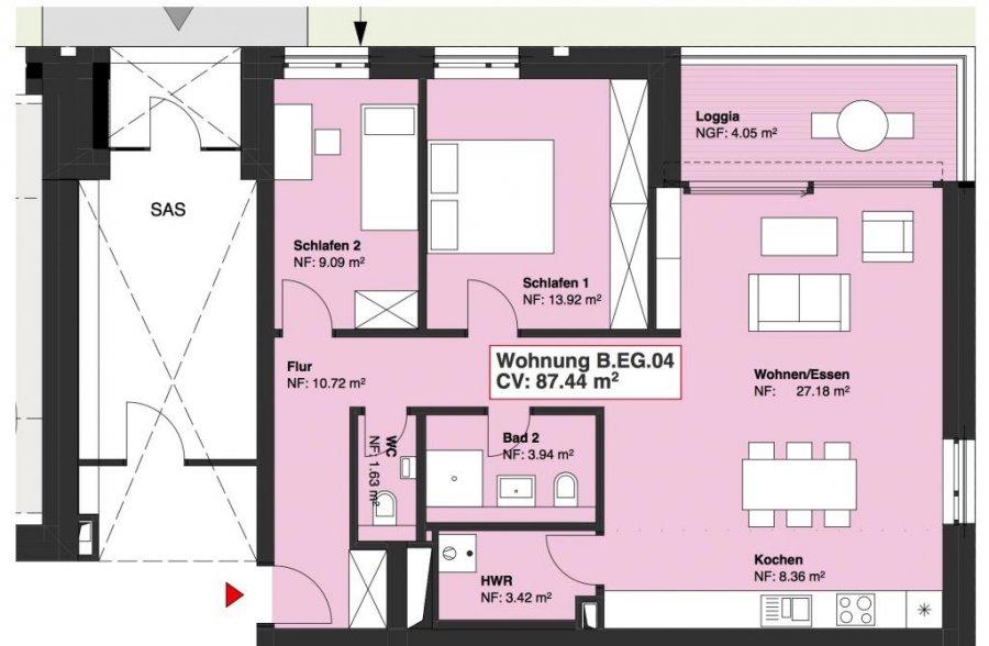 wohnung kaufen 2 schlafzimmer 88.23 m² wasserbillig foto 1