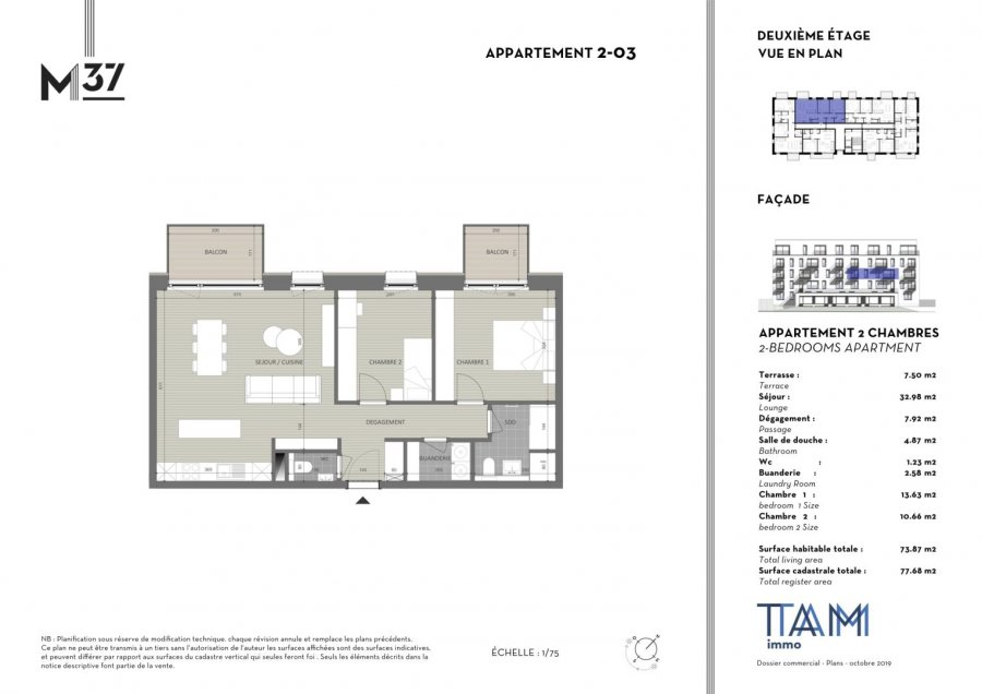acheter appartement 2 chambres 73.87 m² luxembourg photo 1