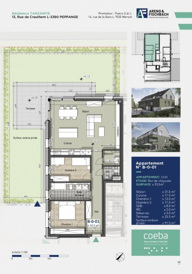 acheter appartement 2 chambres 93.38 m² peppange photo 4