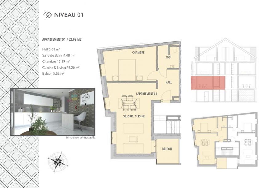 acheter appartement 1 chambre 52.09 m² schifflange photo 3