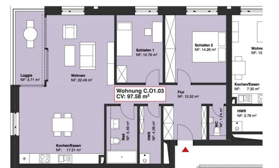 wohnung kaufen 2 schlafzimmer 97.58 m² wasserbillig foto 1