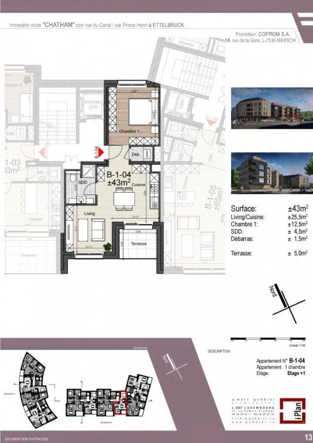 acheter appartement 1 chambre 43 m² ettelbruck photo 1
