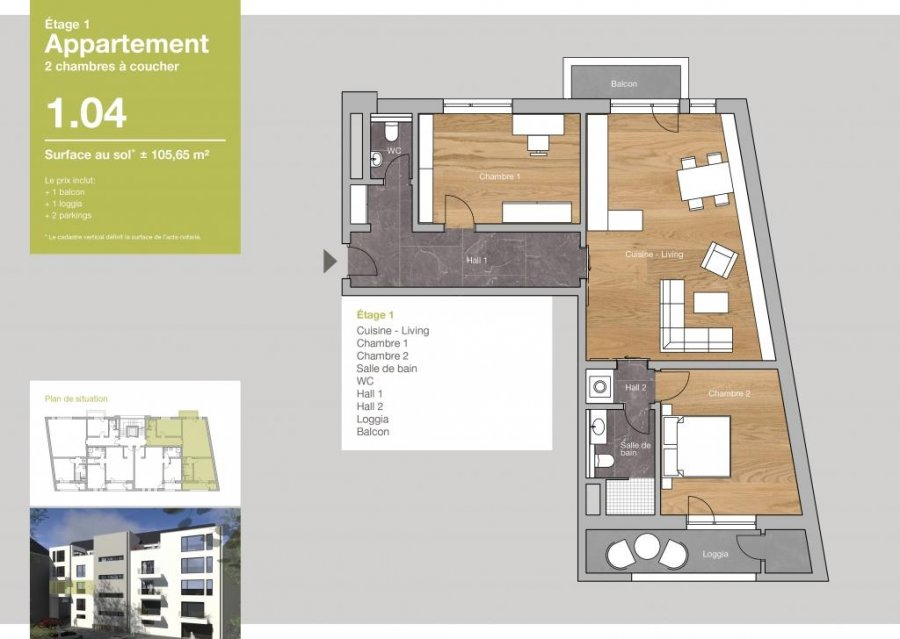 acheter appartement 2 chambres 105.65 m² clervaux photo 2