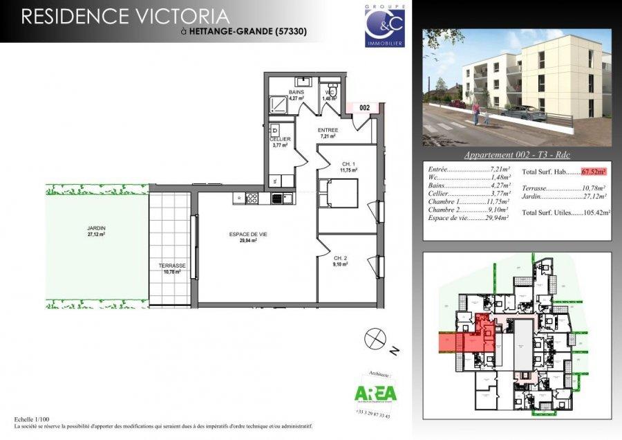 acheter appartement 3 pièces 67.52 m² hettange-grande photo 2